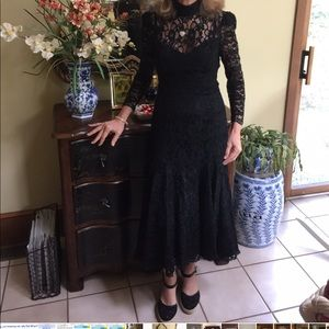 Scott McClintock hi lo black lace prom dance dress